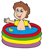 Stock Illustration Of Boy In Inflatable Pool K1860416   Search Clip