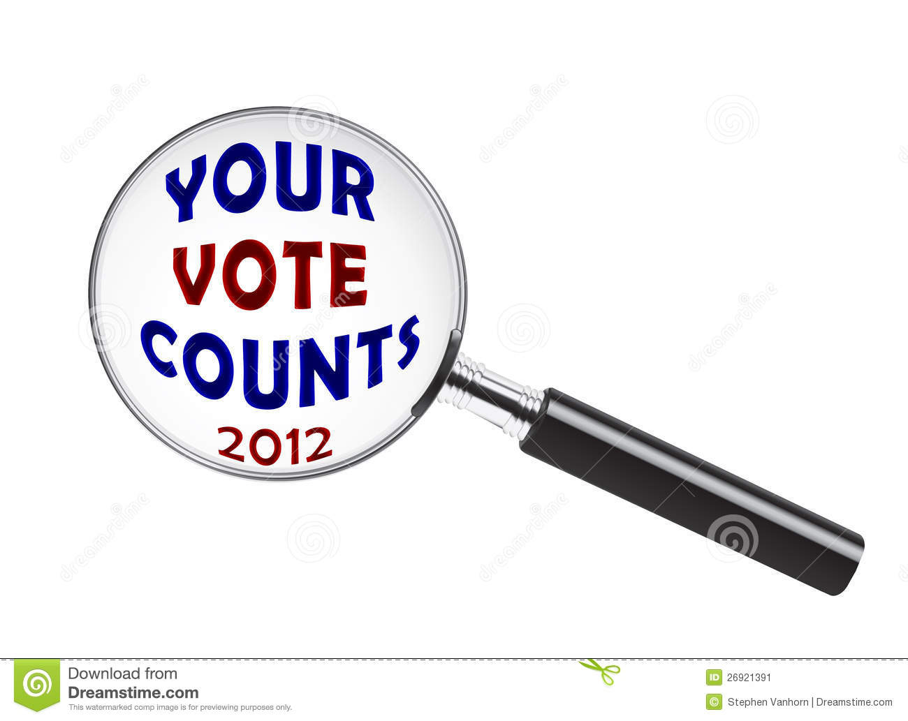 Your Vote Counts Text Under A Magnifying Glass
