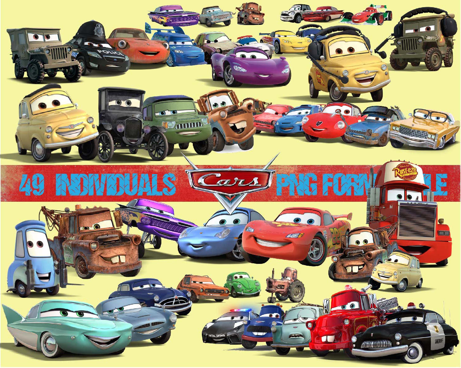 49 Cars Movie Clipart Png Digital Graphic Image Disney Home Movie