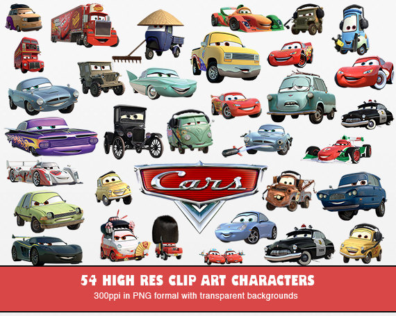 52 Cars Clip Art   High Res  300ppi   Disney Cars Printable