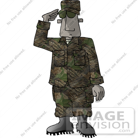 African American Marine Military Soldier Saluting Clipart    18931 By
