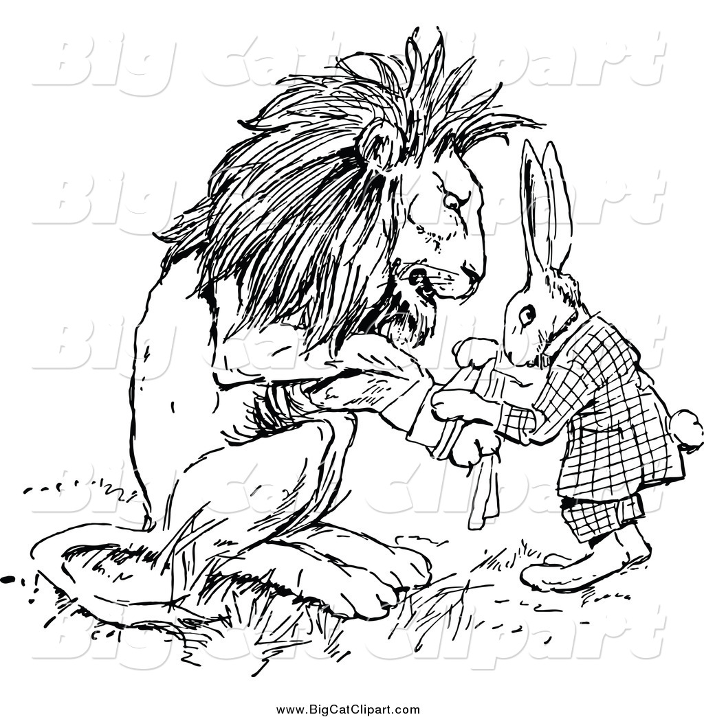 Big Cat Vector Clipart Of A Black And White Rabbit Patching Up A Lions