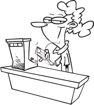 Black And White Cartoon Of A Female Cashier Running A Credit Card