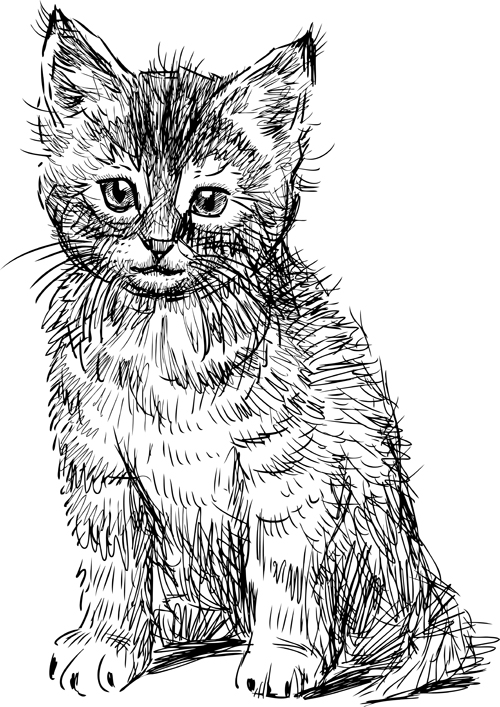 Black Kittens Vector 05 Download Name Hand Drawing Black Kittens