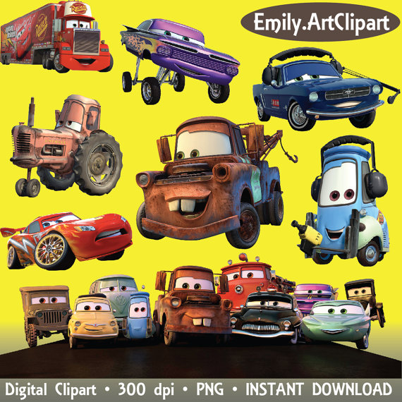 Cars Clipart Disney Cartoon Character 28 Png Digital Graphic Image