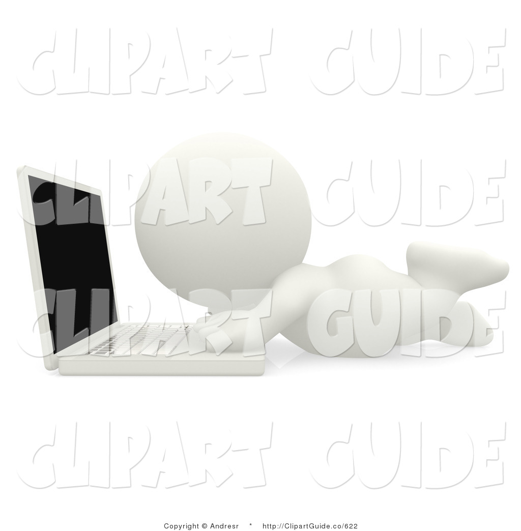 Clip Art Of A 3d Teeny Person Laying Down And Using A Laptop On The