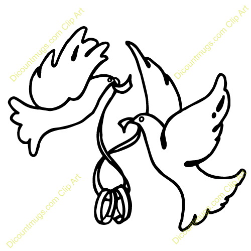 Clipart 11985 Doves Holding Wedding Bands   Doves Holding Wedding