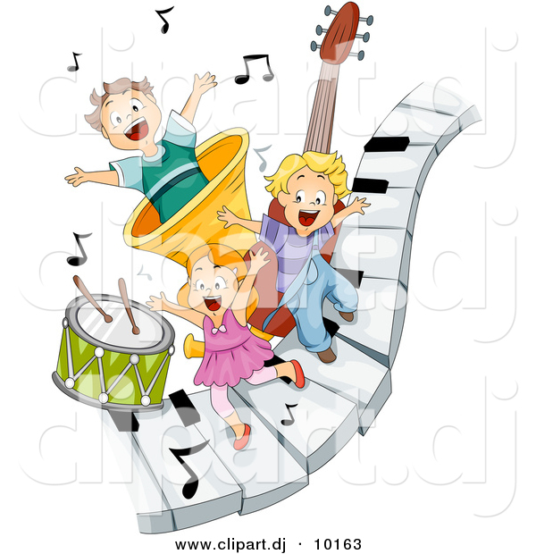 Clipart Of A 3 Happy Kids Playing On Piano Keys With Music Notes