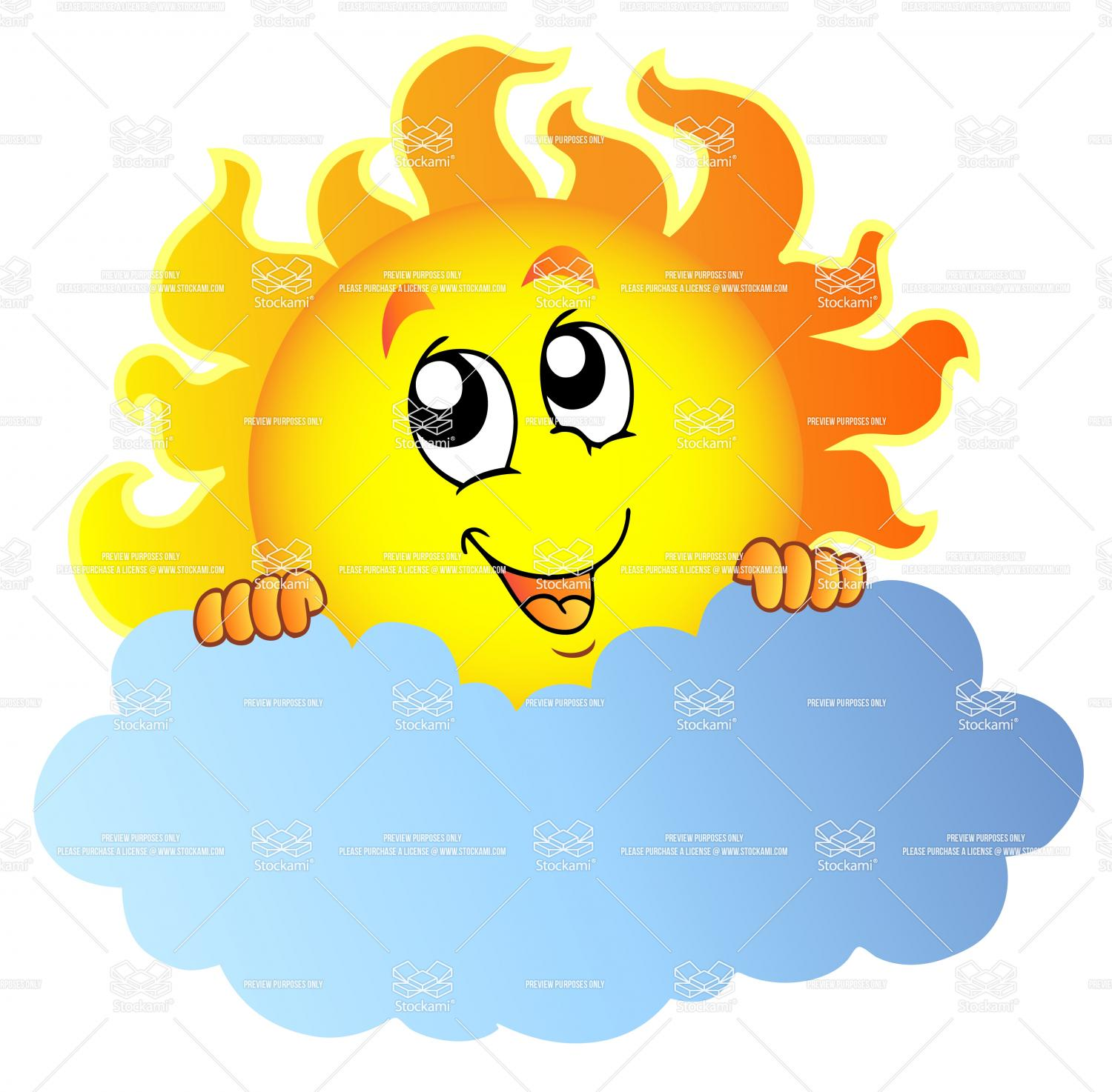 Description  Cartoon Sun Holding Cloud   Vector Illustration