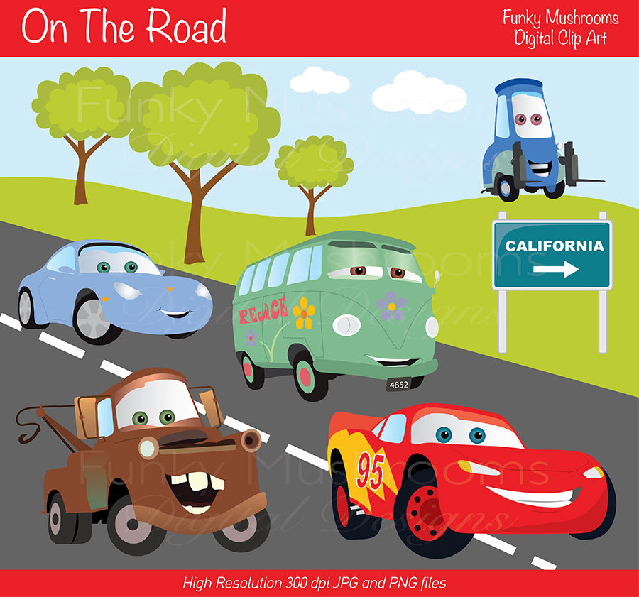Digital Clipart   On The Road For Scrapbooking Invitations Paper