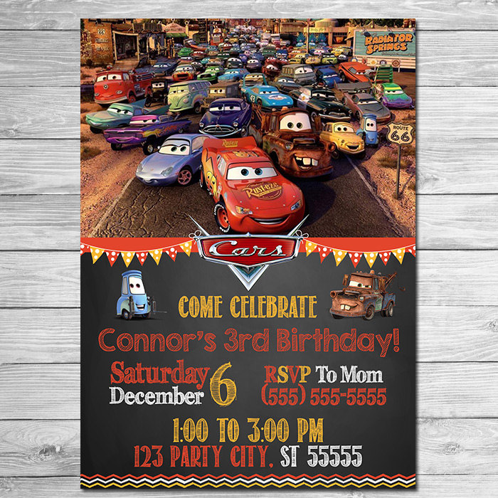 Disney Cars Birthday Invitations Disney Cars Sally Invitation