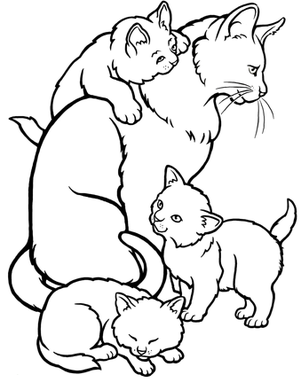 Kittens For Kids Printable Coloring Pages Of Mommy Cat Kittens For