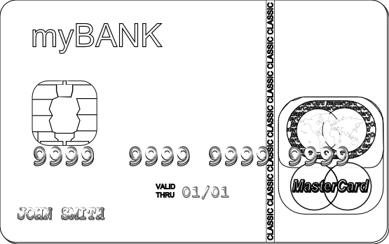 credit card black and white clipart