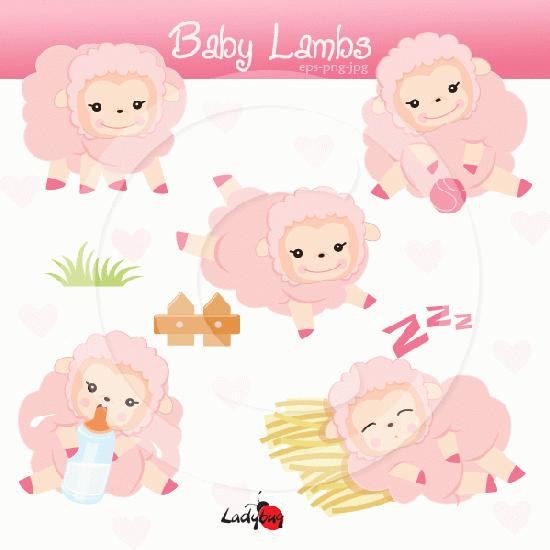 My Grafico Baby Lambs Clipart 5 Pieces Cute Baby Lambs