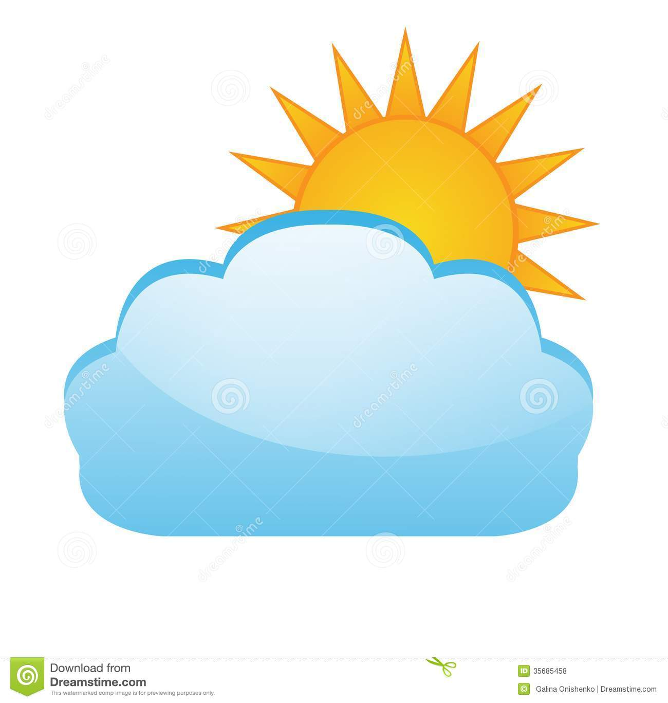 Sun After A Cloud On A White Background Illustration