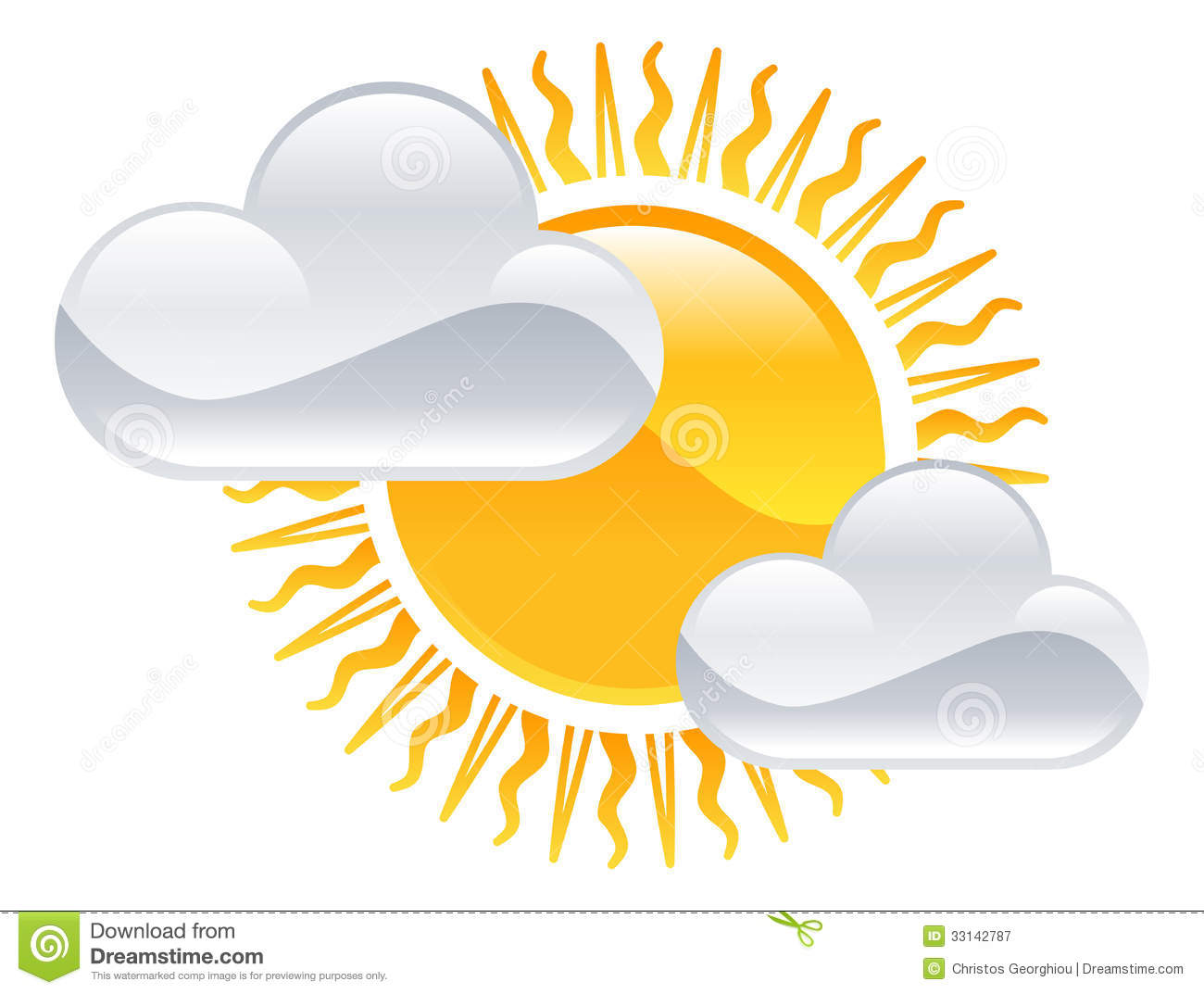 Sun And Clouds Icon Royalty Free Stock Photography   Image  33142787