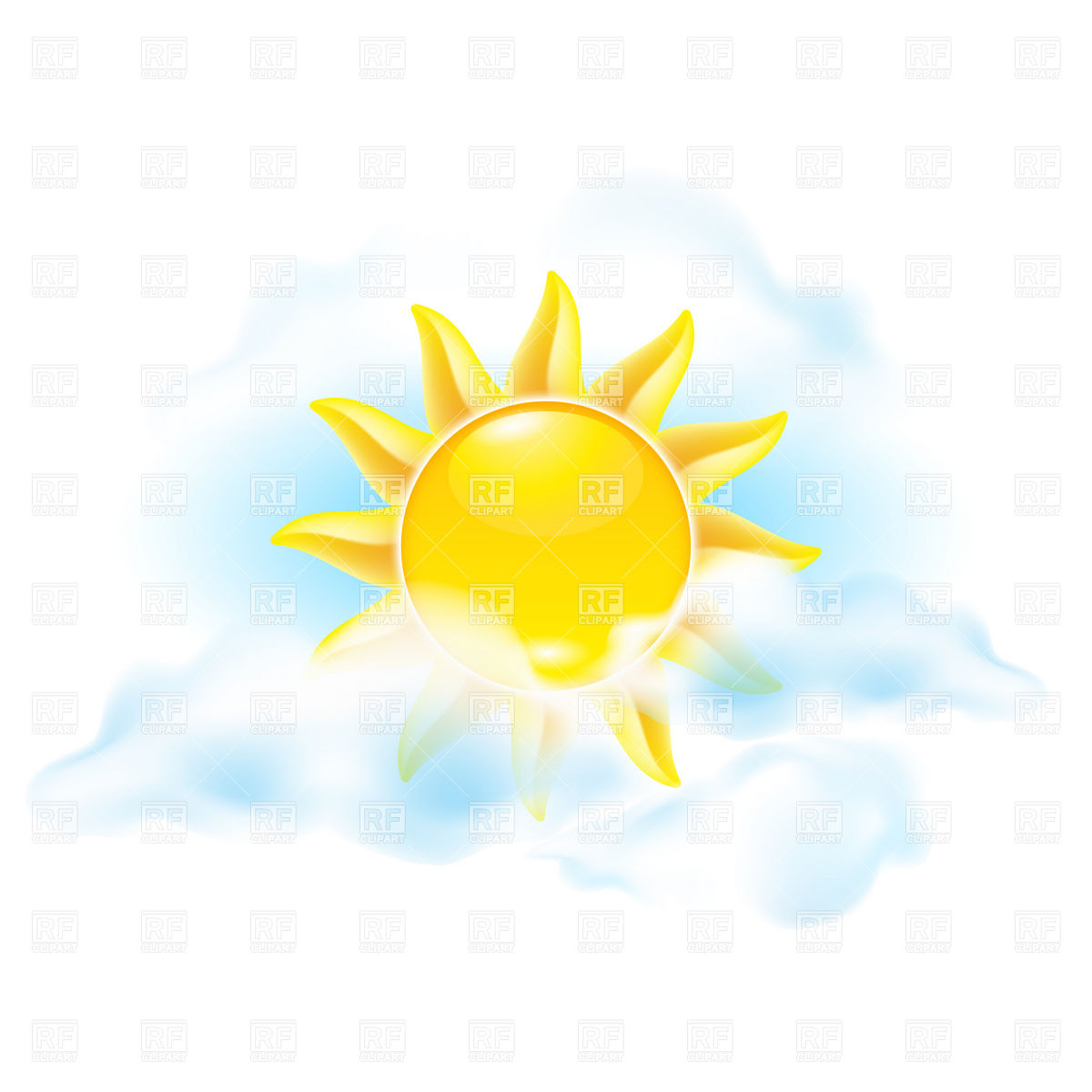 Sun And Clouds   Weather Icon Download Royalty Free Vector Clipart