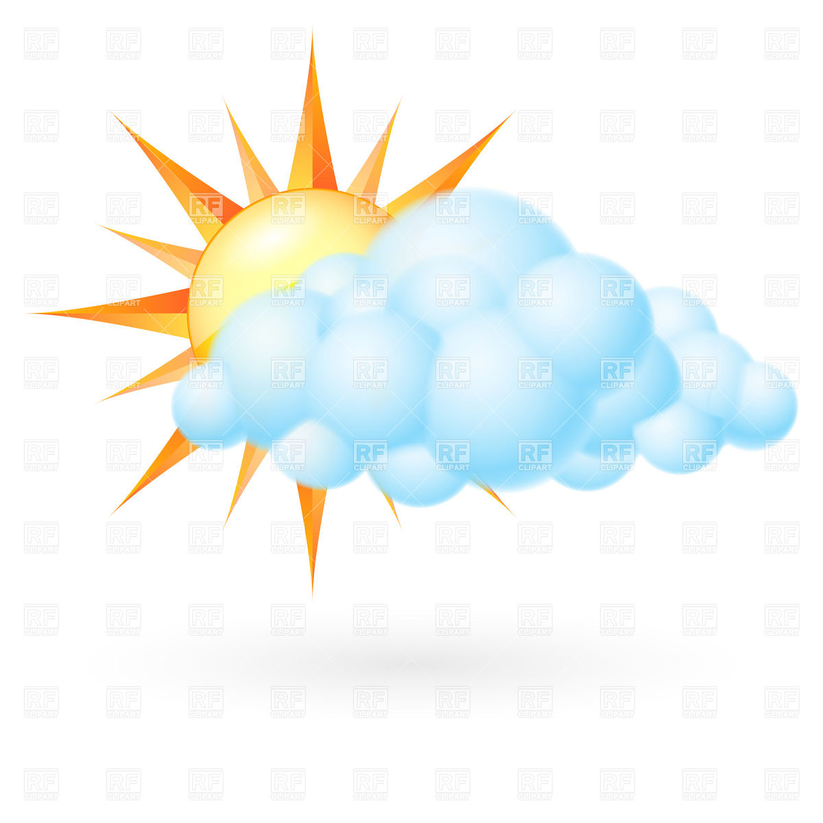 Sun With Cloud   Cloudy Weather Icon Download Royalty Free Vector