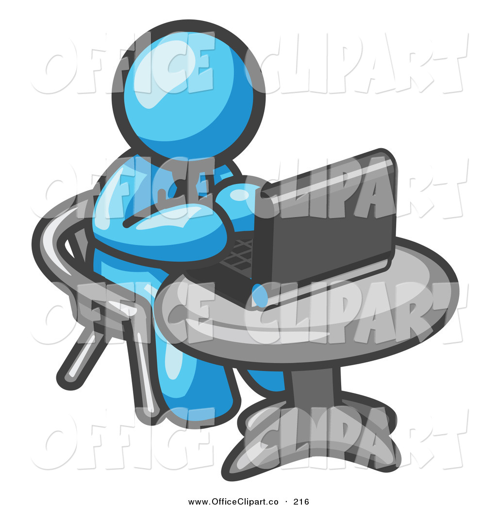 Vector Clip Art Of A Light Blue Person Working On A Laptop Computer In
