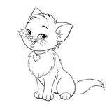 Vector Happy Cute Fun White Kitten Cartoon Smiling Character Cat With
