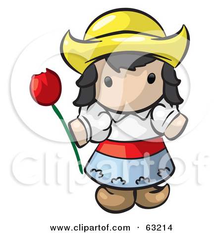 Clipart Illustration Of A Human Factor Dutch Girl Holding A Red Tulip