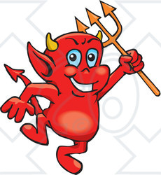 Clipart Illustration Of A Troublesome Little Red Devil Dancing With A