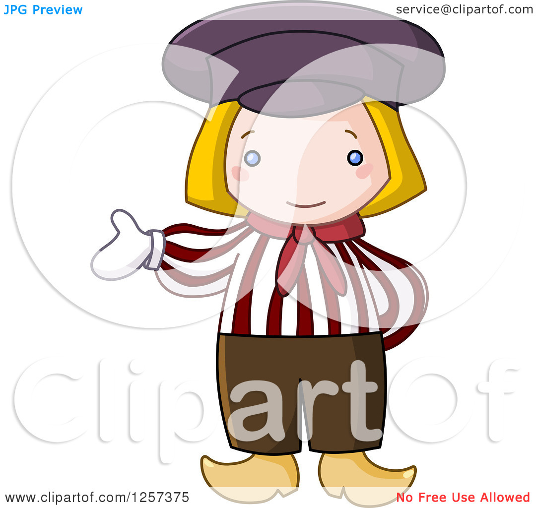 Clipart Of A Cute Dutch Boy Presenting   Royalty Free Vector