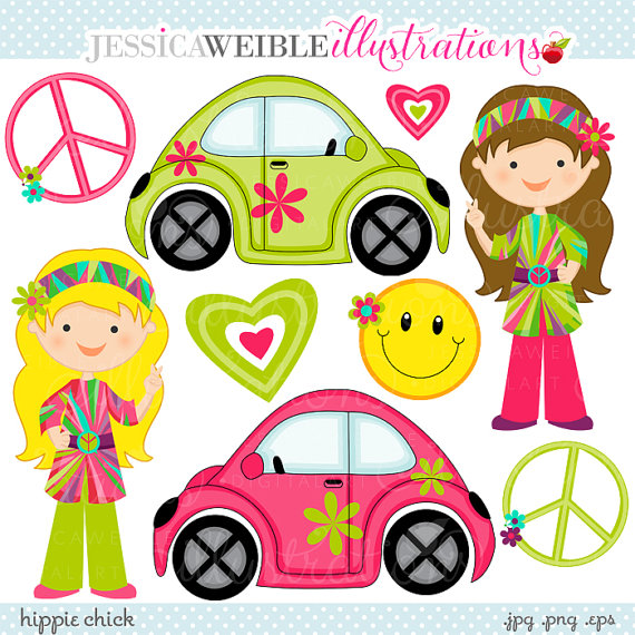 Hippie Chick Cute Digital Clipart   Commercial Use Ok   Retro Girls