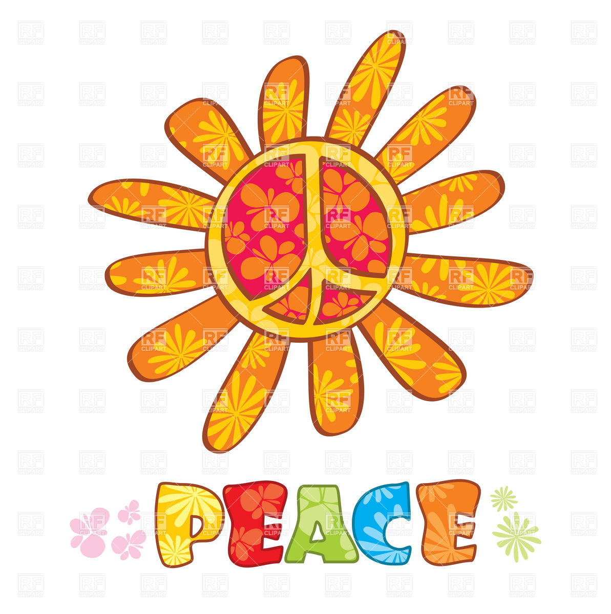 Hippie Peace Symbol With Petals Download Royalty Free Vector Clipart