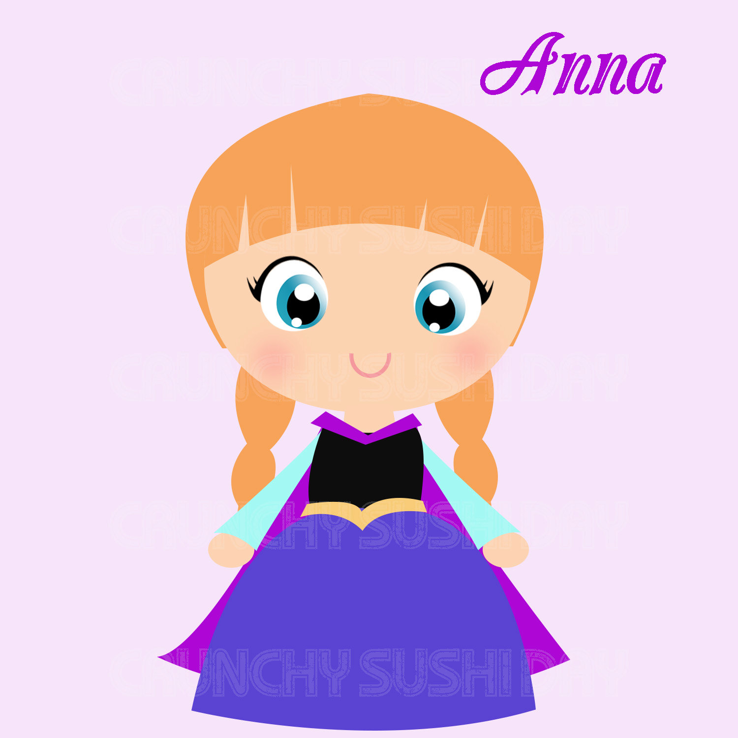 Princess Anna Frozen Cute Kawaii Princess Digital Graphic Clipart