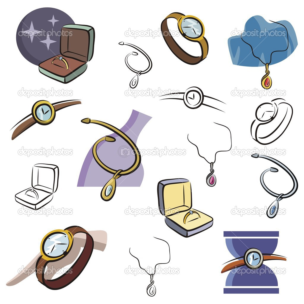 Set Of Jewelry And Watch Vector Icons In Color And Black And White