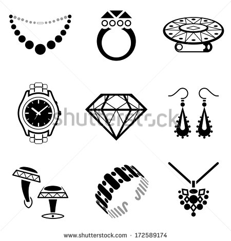 Set Of Jewelry Icons  Collection Of Black White Icons For Luxury