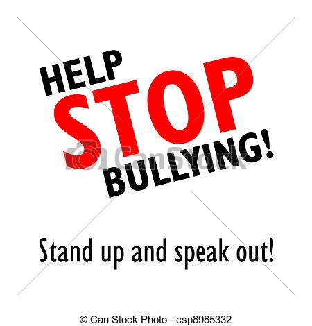 Stop Bullying Black And Red Sign On A White Background