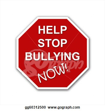 Stop Bullying Now Red And White Road Sign  Clipart Illustrations