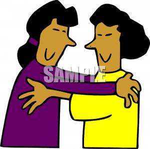 Two Woman Hugging   Royalty Free Clipart Picture