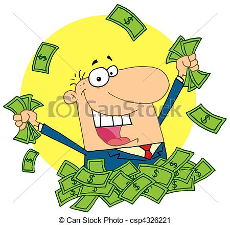 Vector Clip Art Of Lucky Rich Man   Happy Caucasian Man In A Pile Of