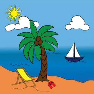 Beach Clipart Image   Tropical Paradise With Sailboat On The Ocean And