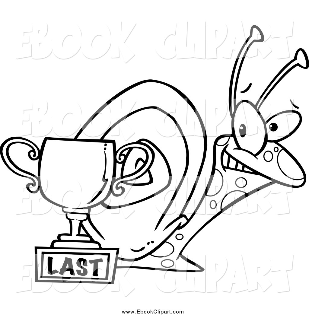 Black And White Proud Snail By A Last Place Trophy Cup By Ron Leishman
