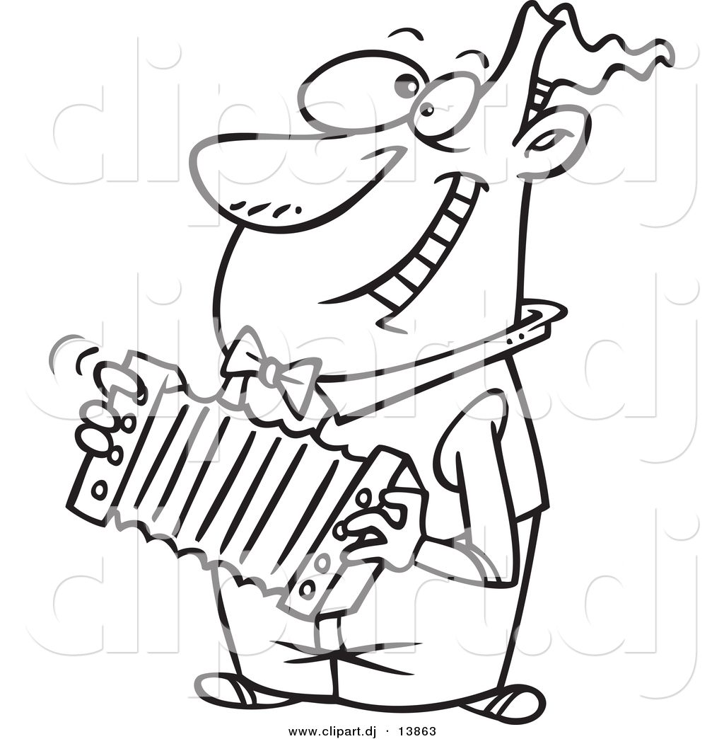 Cartoon Vector Clipart Of A Happy Guy Playing Accordion   Coloring