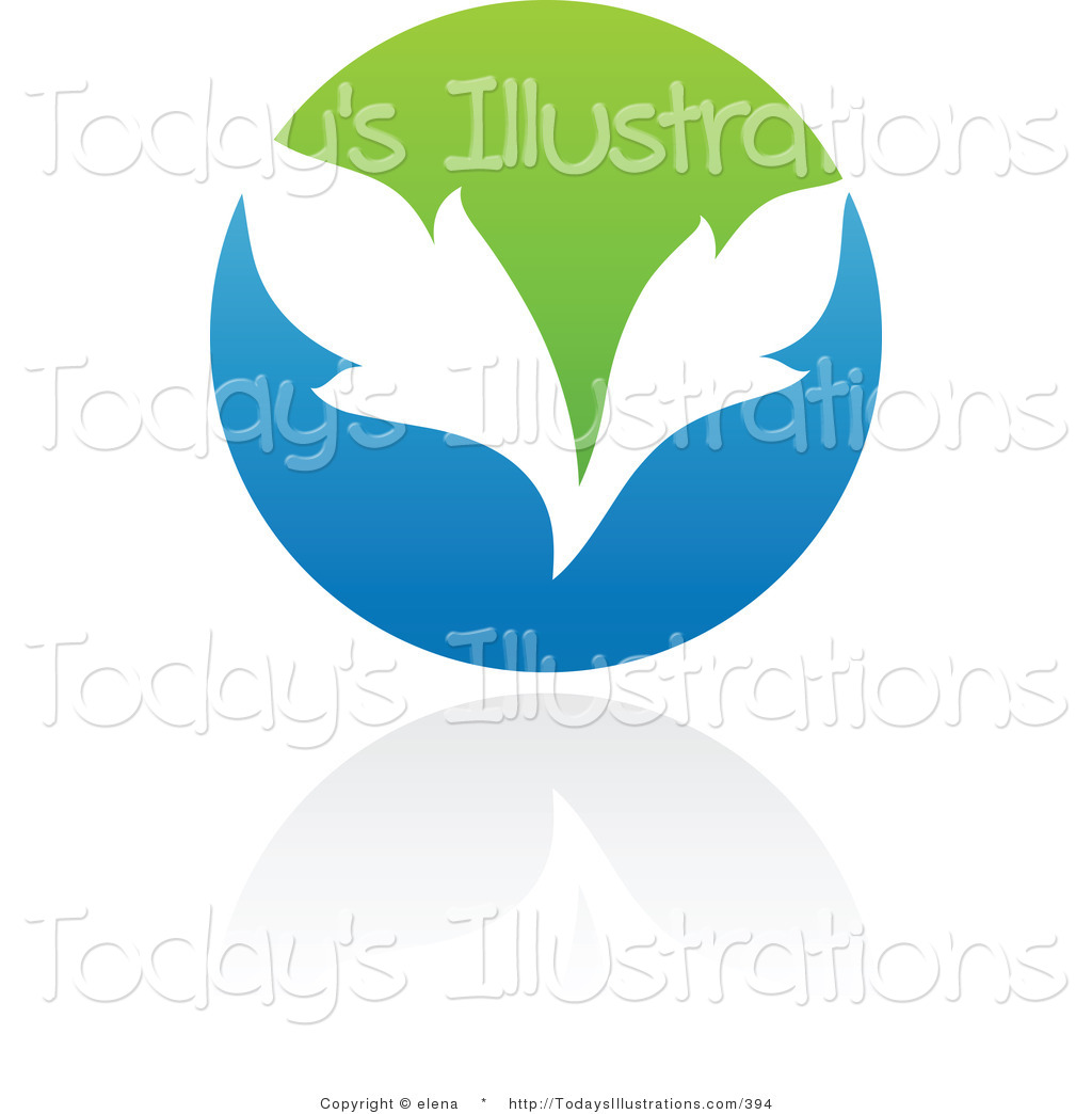 Clipart Of A Blue And Green Organic And Ecology Circle Leaf Logo