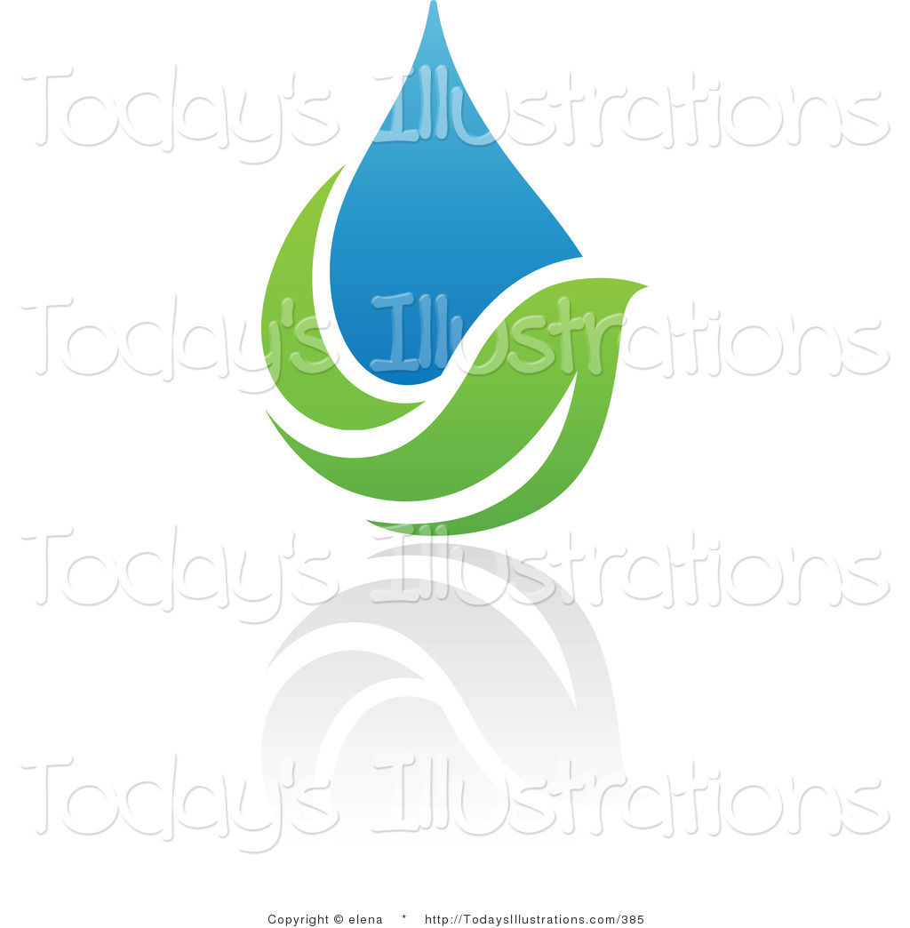 Clipart Of A Blue And Green Organic And Ecology Water Drop And Leaf