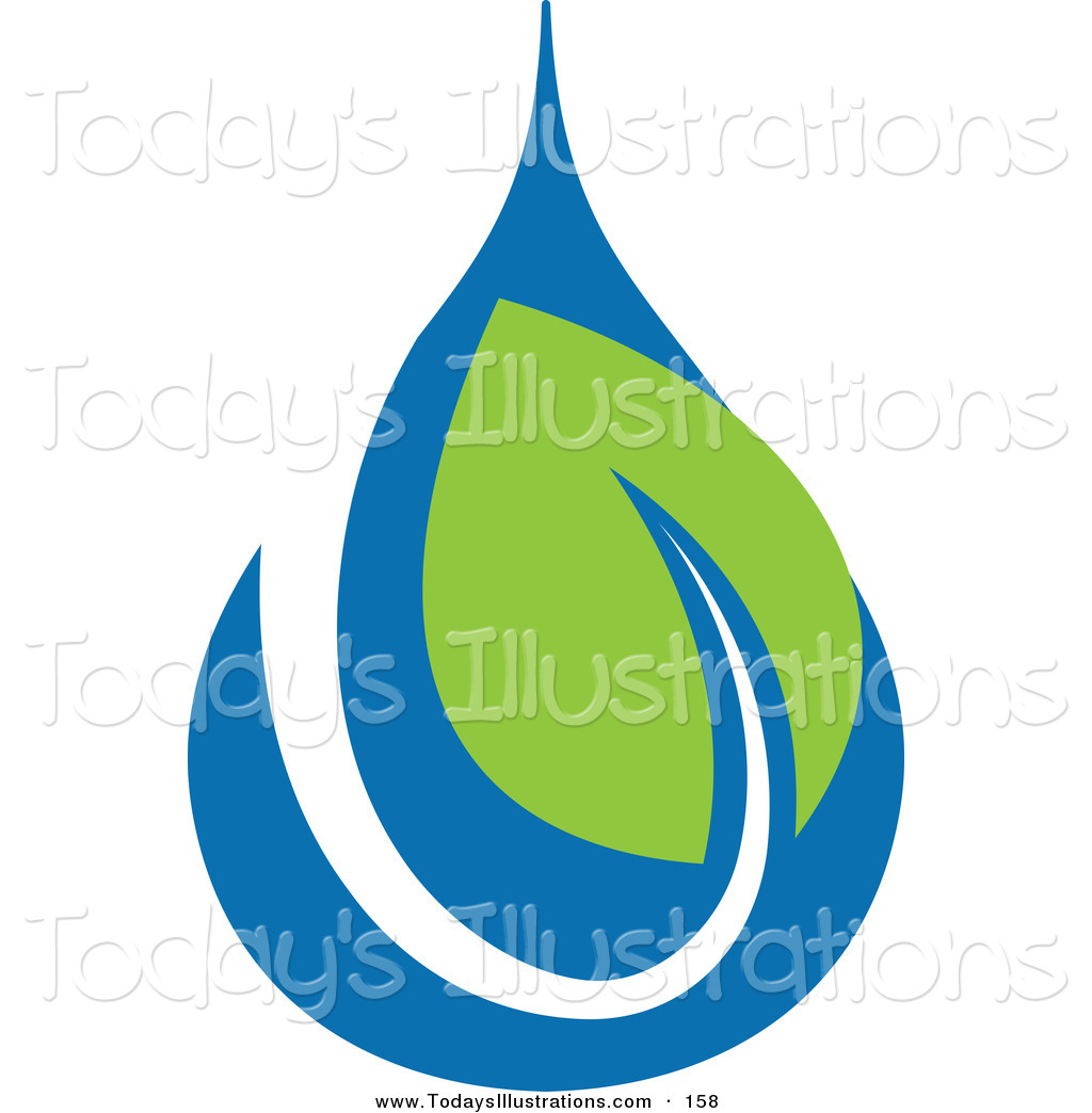 Clipart Of A Green And Blue Ecology Logo Icon   A Water Drop And Green