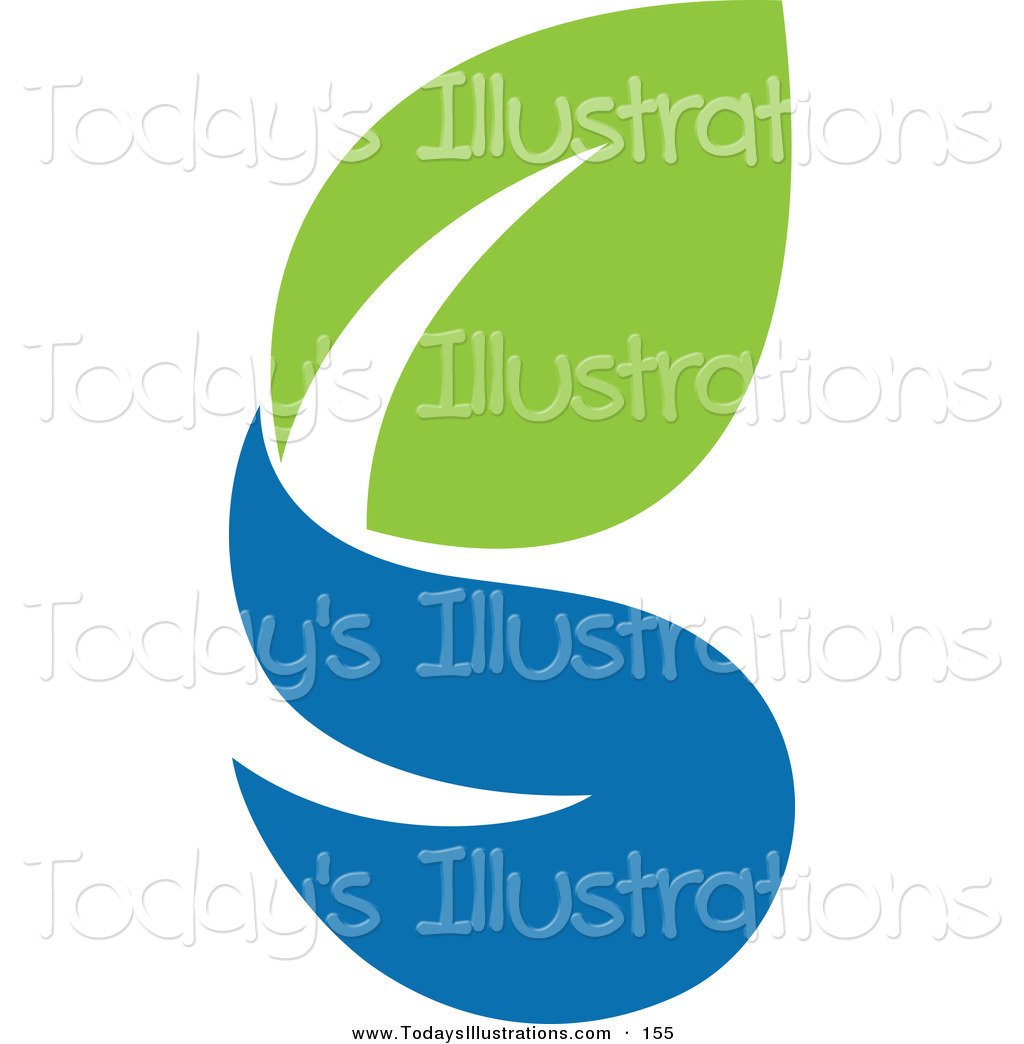 Clipart Of A Green And Blue Ecology Logo Icon With A Green And A Blue