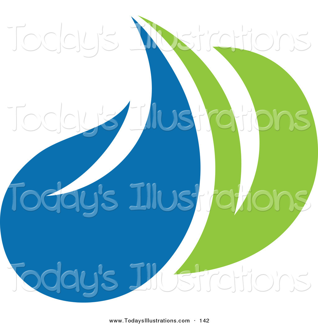 Clipart Of A Green Leaf And Blue Water Drop Ecology Logo Icon By Elena