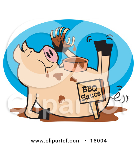 Hugry Pig Chowing Down On Ribs And Bbq Sauce Clipart Illustration Jpg