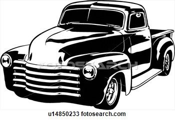 Illustration Lineart Classic 1949 Chevy Pickup Truck View Large