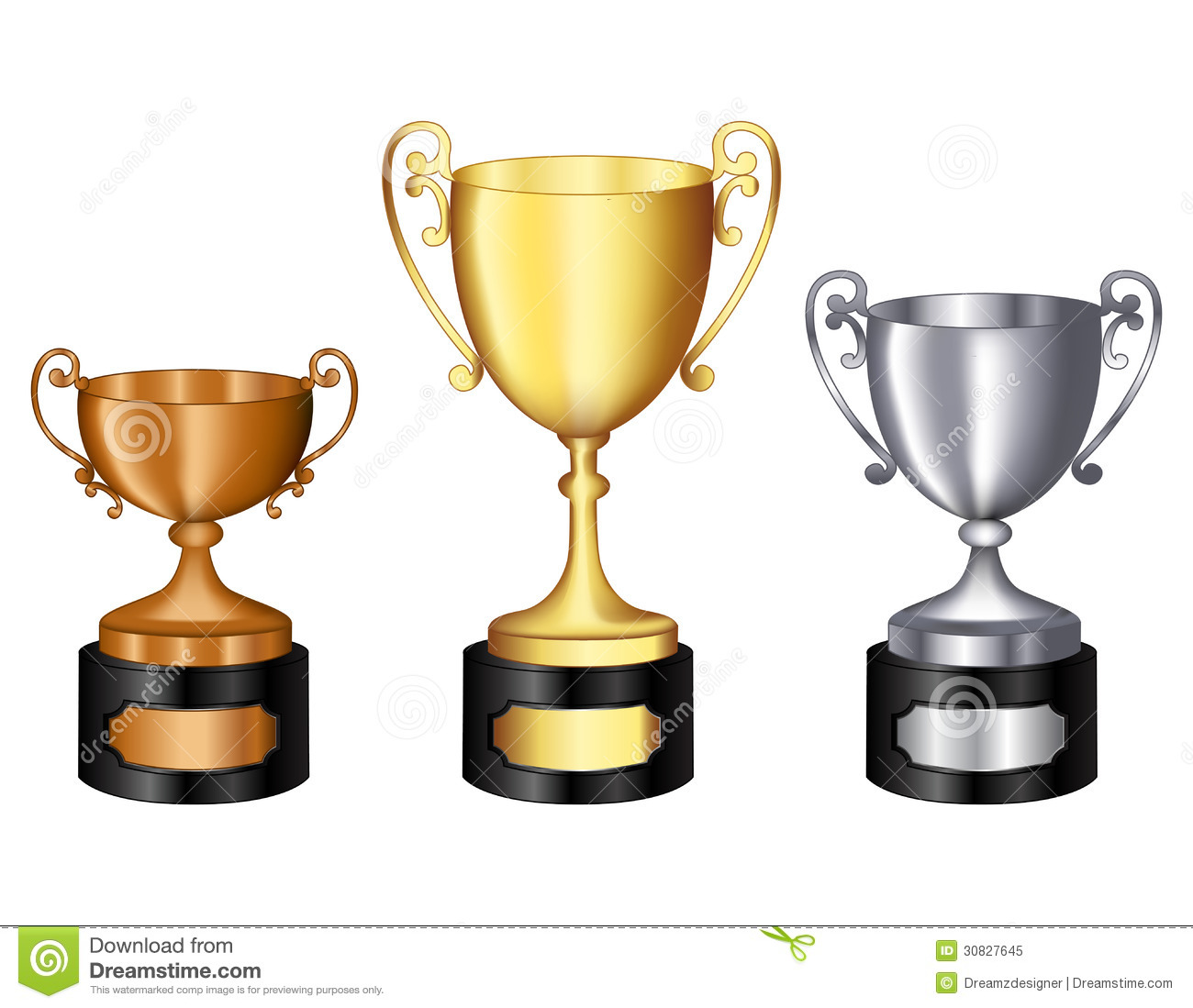 Last Place Trophy Clipart Trophy Gold Silver And Bronze