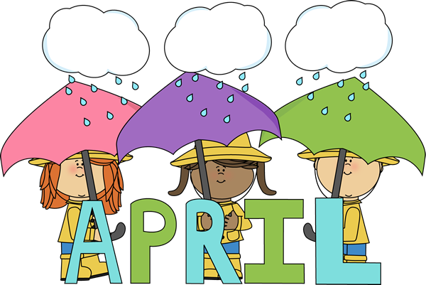 Month Of April Showers Clip Art Image   The Word April In Blue And