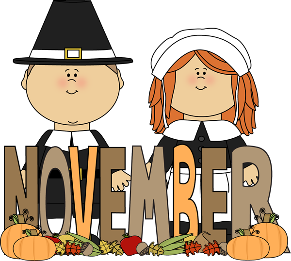 Month Of November Pilgrims Clip Art Image   The Word November In Brown