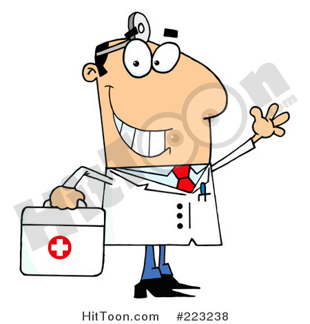 Rf Clipart Illustration Of A Smiling And Waving Caucasian Male Doctor
